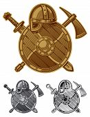 image of scandinavian  - Coat of arms scandinavian viking detailed illustration of a stylized - JPG