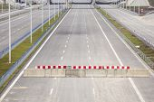 foto of barricade  - Barricade on a highway stopping all vehicles - JPG