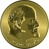 image of lenin  - Money gold coin Soviet jubilee ruble with Lenin - JPG