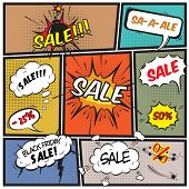 picture of strip  - Comics best offer sale promotion bubbles on strip background vector illustration - JPG