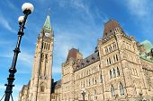 image of neo  - Canadian Parliament buildings on Parliament Hill in neo gothic style detail of the Tower of Victory and Peace better known as Peace Tower - JPG