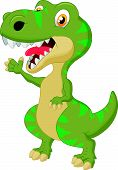 image of tyrannosaurus  - Vector illustration of Cute tyrannosaurus cartoon waving hand - JPG