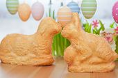 stock photo of home-made bread  - Home made Easter Bunny Cake with Easter Eggs