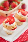 stock photo of whipping  - Strawberry Shortcake Muffins with ripe strawberries and whipped cream - JPG