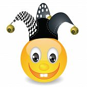 image of jester  - colorful illustration with smile in a jester hat for your design - JPG