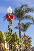 stock photo of banana tree  - Christmas Lantern Street Light Decorations Banana Trees Palm Trees  - JPG