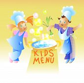 stock photo of recipe card  - Kids Menu Card Design Child cartoon vector - JPG