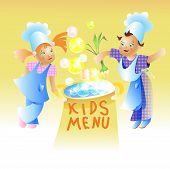picture of recipe card  - Kids Menu Card Design Child cartoon vector - JPG