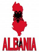 picture of albania  - Albania map flag and text vector illustration - JPG