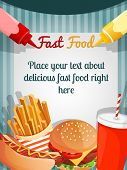 image of hamburger  - Fast junk food poster with hamburger french fries drink vector illustration - JPG