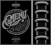 stock photo of calligraphy  - vector pattern for menu pizza over black background and calligraphy - JPG
