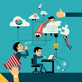picture of spyglass  - Flat design vector illustration concept of computer and connected mobile devices with links of transmission information and cloud computing - JPG