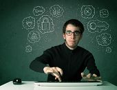 pic of virus scan  - Young nerd hacker with virus and hacking thoughts on green background - JPG