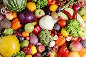 foto of abundance  - Fresh organic fruits and  vegetables close - JPG