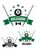 pic of snooker  - Retro style emblem of snooker and billiards with a ball - JPG