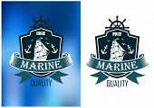 foto of tall ship  - Marine quality emblems of badges in two color variations with a shield enclosing a tall ship with sails set and a ribbon banner with the word Marine with Quality below - JPG