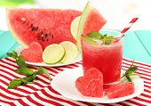foto of watermelon  - Watermelon cocktail on table - JPG