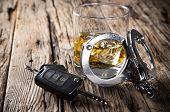 stock photo of whiskey  - Glass of whiskey and car keys - JPG