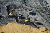 picture of open-pit mine  - Open pit mining of coal - JPG