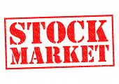 foto of stock market crash  - STOCK MARKET red Rubber stamp over a white background - JPG