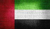 image of emirates  - Grunge of United Arab Emirates flag on burlap fabric - JPG