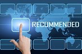 picture of recommendation  - Recommended concept with interface and world map on blue background - JPG