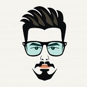 picture of goatee  - Goatee beard young hipster male with highlighted hair and blue lenses glasses - JPG
