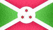 image of burundi  - Closeup of Burundi flag on metallic metal texture - JPG