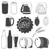 Постер, плакат: Vector beer monochrome icons set