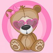 picture of cute bears  - Cute bear girl in sunglasses on a pink - JPG