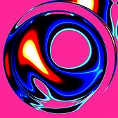 stock photo of trippy  - Crazy illustration with smeared colors on pink base - JPG