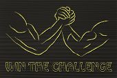 Постер, плакат: Trial Of Strength Arm Wrestling Design: Win The Challenge