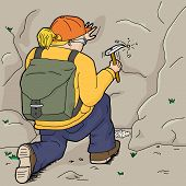picture of chisel  - Blond female geologist with backpack using chisel - JPG