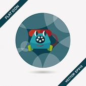 image of toy phone  - Toy Phone Flat Icon With Long Shadow - JPG