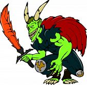 picture of fiery  - Cartoon style illustration of a demon with big horns wielding a fiery sword viewed from front on isolated background - JPG
