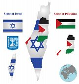 foto of israel israeli jew jewish  - Flag and coat of arms of the State of Israel and the State of Palestine overlaid on detailed outline map isolated on white background - JPG