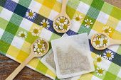 picture of wishing-well  - Get well card with chamomile flowers in wicker basket - JPG
