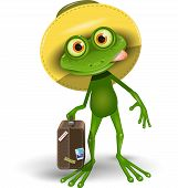 picture of amphibious  - Illustration merry Green Frog with a Suitcase - JPG