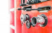 pic of fire brigade  - image of Fire truck close up equipment - JPG
