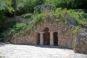 picture of grotto  - The ancient building of the Grotto of Diana in city park of Pyatigorsk - JPG