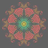 picture of lace  - Vector ornamental round lace with damask and arabesque elements - JPG