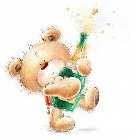 pic of champagne color  - Cute Teddy Bear with the bottle of close  - JPG