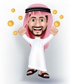 image of won  - Realistic Smiling Handsome Saudi Arab Man Character in 3D with Thobe Dress Jumping for Joy with Gold Dollars Money Like he Won - JPG