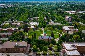stock photo of missoula  - View of University of Montana from Mount Sentinel in Missoula Montana - JPG