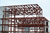 picture of girder  - Unfinished industrial building with an iron girder structure - JPG