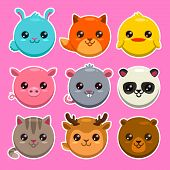 picture of zoo  - Set of cute cartoon round animals vector zoo stickers - JPG