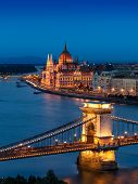 picture of hungarian  - The beautiful Chain Bridge with the Hungarian Parliament in the background during blue hour - JPG