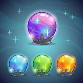 stock photo of fairies  - Set of magic crystal balls fairy vector illustration - JPG