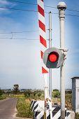 stock photo of traffic light  - red traffic light crossing level - JPG