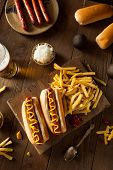 stock photo of wiener dog  - Barbecue Grilled Hot Dog with Yellow Mustard - JPG